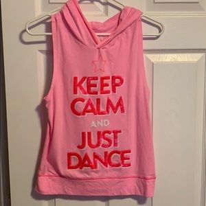 Justice girls pink hooded dance tank top 16